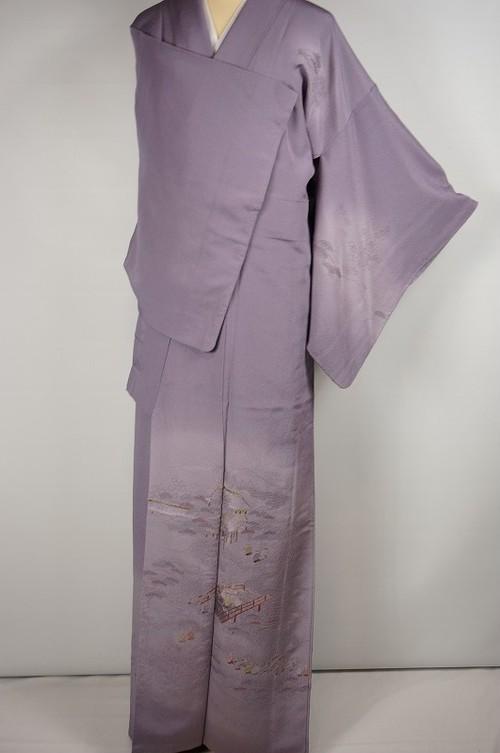 総刺繍 汕頭刺繍 訪問着 正絹 ちりめん 京風景 藤色 紫 373
