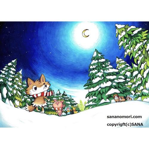 ペーパースタンド 静かな雪原夜
