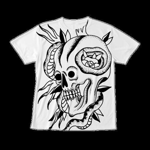 フルグラフィックTシャツ SKULL  ホワイト