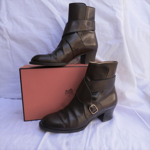 HERMES Brown Leather Short Boots