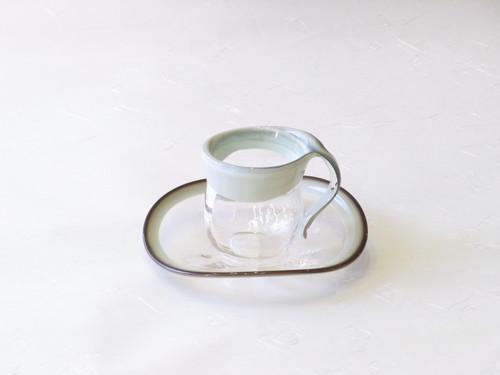 日本製 手作り 耐熱ガラス  カップ&ソーサー グリーン