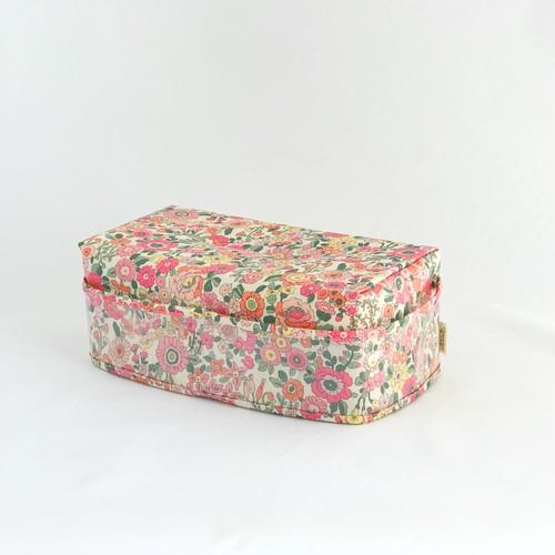 ティッシュカバー 2 ラミネート 花柄 桃色