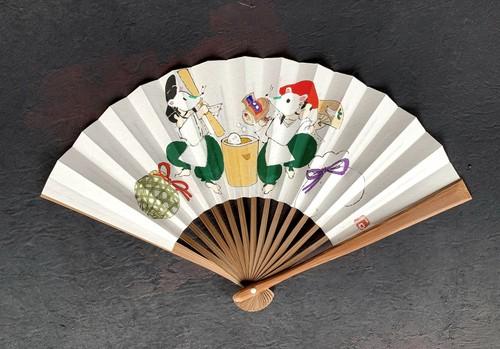 50/15 茶扇子 恵比寿さんと大黒さんのお餅つき