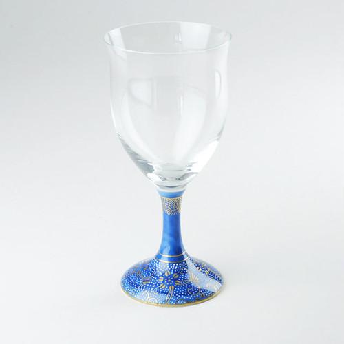 九谷和グラス(ワイングラス) 青地白粒鉄仙