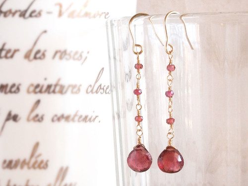 14KGF Garnet Earrings