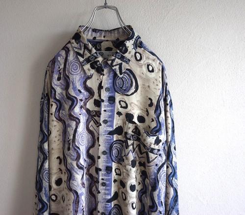 1990's 抽象アート柄 L/S ヴィスコースシャツ ベージュ×パープル 表記(XL)