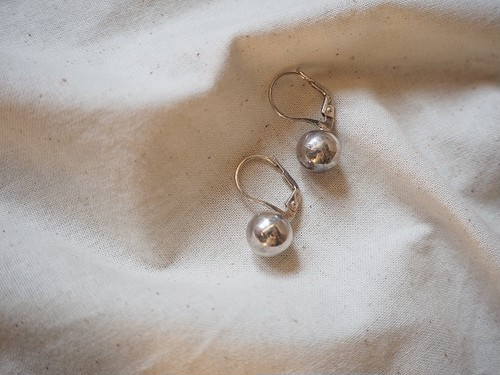 <vintage silver925>french hook ball pierce