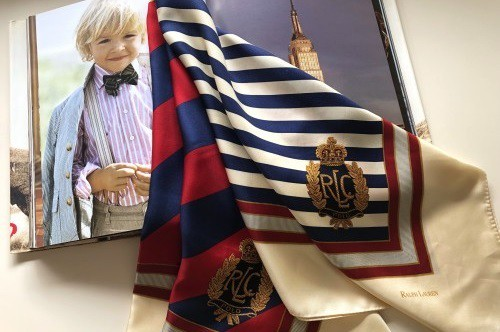 Ralph Lauren tricolor striped silk Scarf