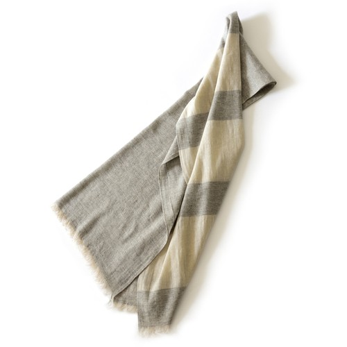 リネンカシミヤパネル大判ストール【 Linen/Cashmere Panel border stole  Gray×Natural 】