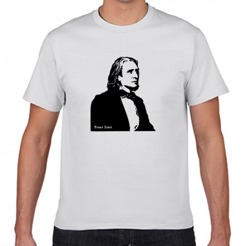 リスト ハンガリー ドイツ 音楽家 歴史人物Tシャツ042