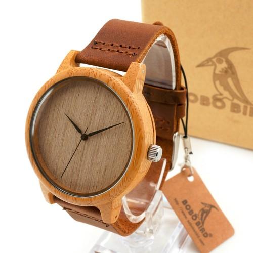竹と木の腕時計
