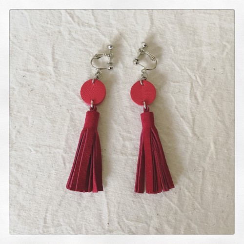 tassel-earring / red