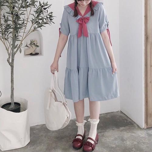 【ワンピース】スウィート学園風配色セーラーカラー甘い印象しなやかワンピース