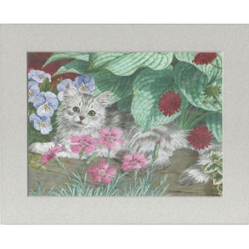 【アルミ彫刻画】花壇の中の綿毛の猫[a398ms]