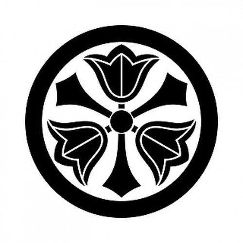 丸に三つ剣梔子 aiデータ