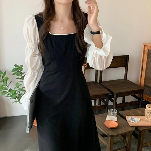 マジョリカ袖 ワンピース ミモレ丈 スクエアネック レディース ファッション 韓国 オルチャン