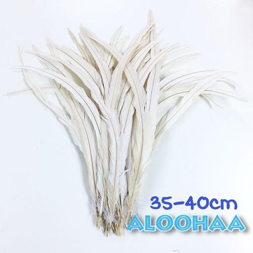 単色 ロングフェザー【白】35-40cm 10本 DIY 羽 衣装材料 タヒチアン