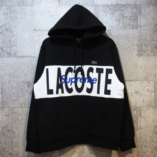SUPREME × LACOSTE 19AW Logo Panel Hooded Sweatshirt