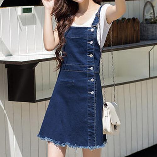 high waist overall denim skirt 1365