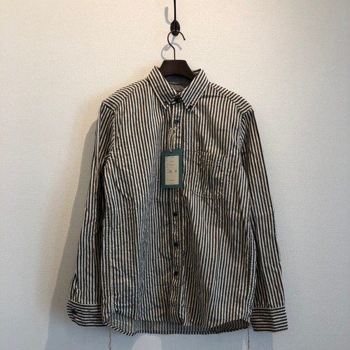 LINEN STRIPE WORK SHIRTS (BLACK STRIPE) / LOST CONTROL