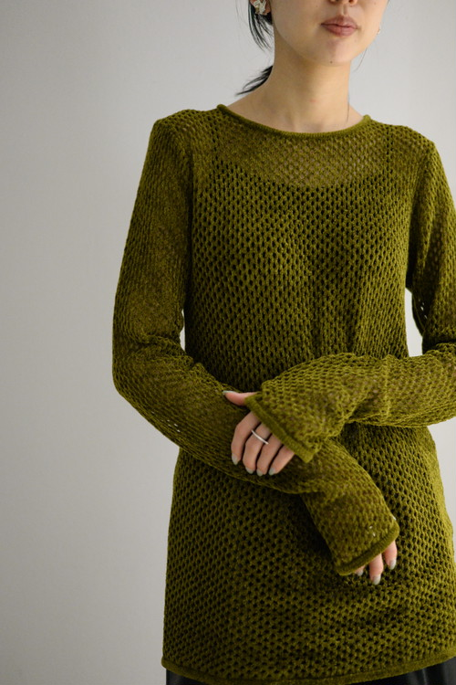 ROOM211 / Mole mesh knit TOP (olive heather)