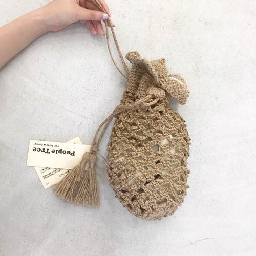 手編みジュートパイナップルバッグ People tree