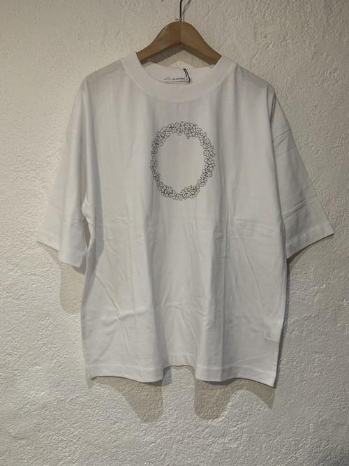 eka/5分袖プリントTシャツ 花プリント ホワイト
