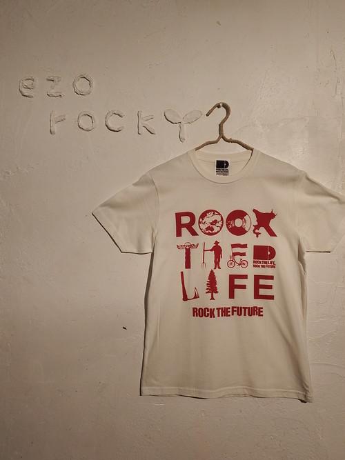 ライトオーガニックコットンTシャツ(ロウホワイト/バーガンディ)