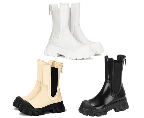 受注生産商品 サイドゴアボリュームフラットブーツ(White,Cream,Black) 170