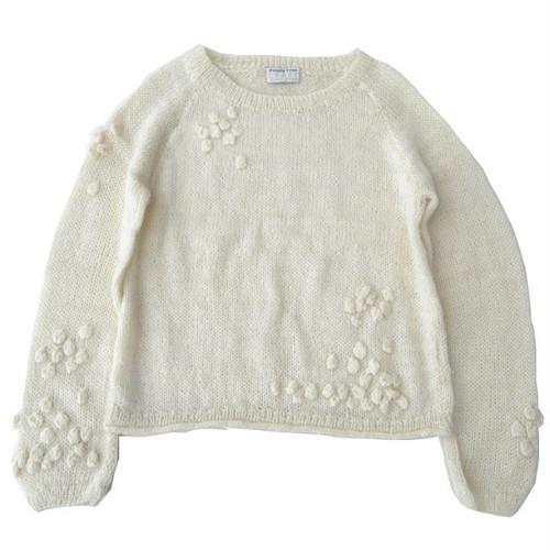 手編みポップコーン プルオーバー【people tree】ウール100% 手編み ニット(ホワイト)