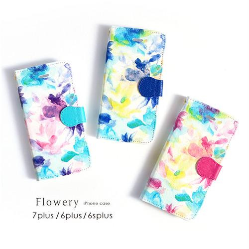 iPhone 手帳型スマホケース 【flowery】 iPhone8plus/7plus/6plus/6splus/XR/XS Max