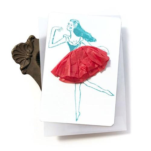 スカートふわふわの踊り子カード 赤い踊り子