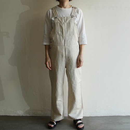 UNION LAUNCH【 womens 】stripe linen cotton overalls pants
