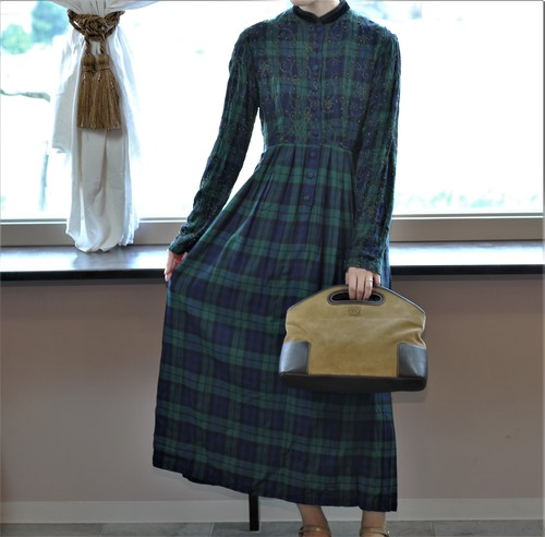 USA VINTAGE CHECK PATTERNED LONG SLEEVE ONE PIECE/アメリカ古着チェック柄長袖ワンピース