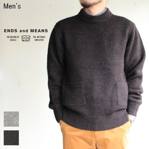 《20%OFF》ENDS and MEANS クルーネックニット Grandpa Knit EM172K008 (BROWN BLACK)