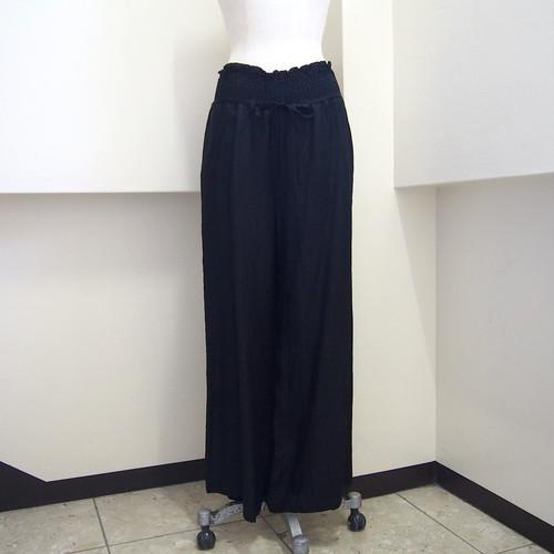【hippiness】cupro shirring pants (Jacquard10black) /【ヒッピネス】キュプラシャーリングパンツ(ジャガード10ブラック)