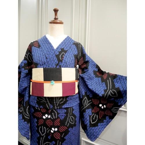ロング*有松鳴海絞り浴衣*ブルー×ブラック クレマチス花柄 0292