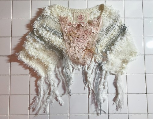 camouflage mohair knit cape WHITE