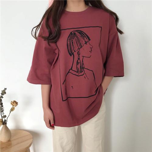 【トップス】レトロアバンギャルドカジュアルゆったりカートゥーン半袖Tシャツ