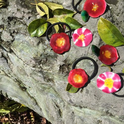 椿のヘアゴム / Camellia