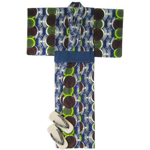 アフリカ布の浴衣3 男物L  丸紋/ African Yukata 3 for Men Size L