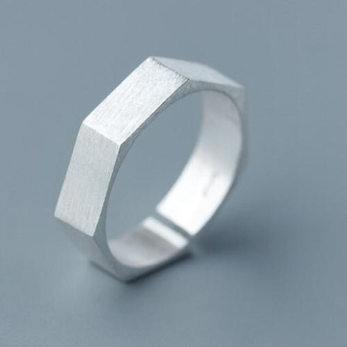 ジオメトリック ブラッシュドリング | 指輪 | シルバー925 | レディース | 金属アレルギー