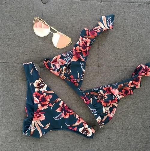 花柄 ネイビー フリル ブラジリアンビキニ水着 セクシー エレガント 大人可愛い ビーチ リゾート レディース