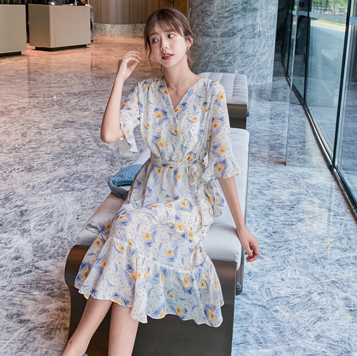 【dress】絶対欲しい スウィートチュニック花柄ワンピース清新人気デザイン M-0120