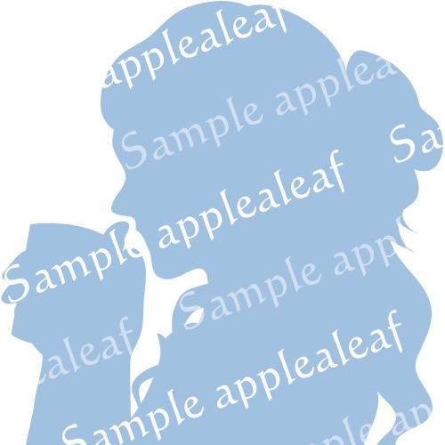 シルエット【紅茶タイム】水色印刷用