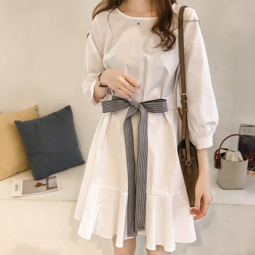 2色 ワンピース ミニ丈 ウエストリボン ホワイト ブルー 可愛い デート レディース ファッション 韓国 オルチャン