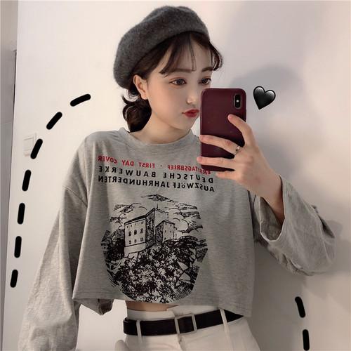 【送料無料】 今年流行のショート丈♡ プリント Tシャツ カジュアル ロンT