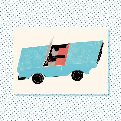 A3 Print: Lightblue convertible