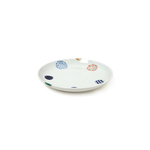 染錦地紋丸紋4.5寸丸皿