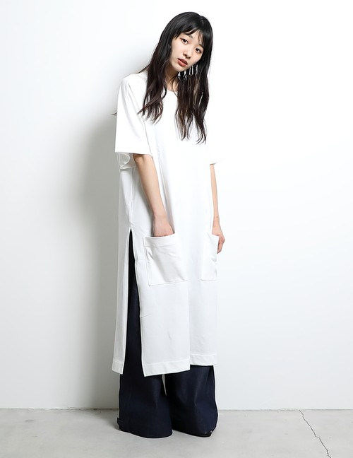 TDT18aw S/S Long T-Shirts (White) (Lady's)